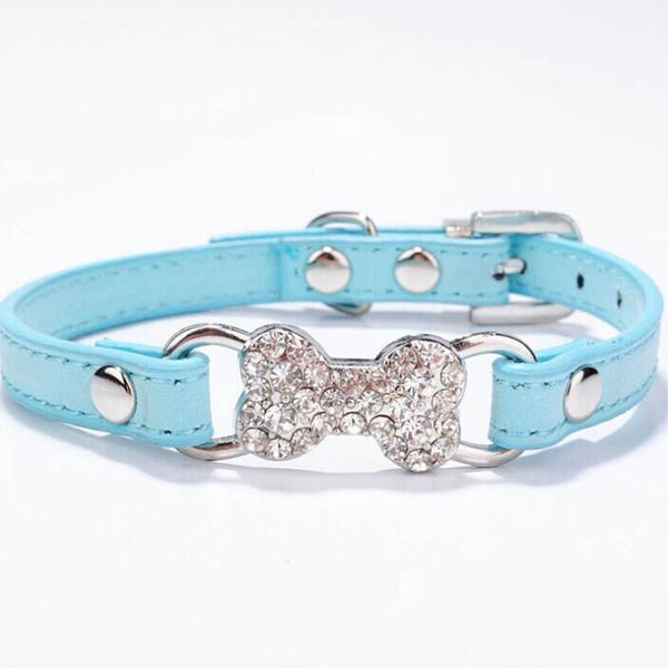 Candy Color Pet Cat Collar Luxury Diamante Bling Bone Neck Strap PU Leather Adjustable Small Dog Collar