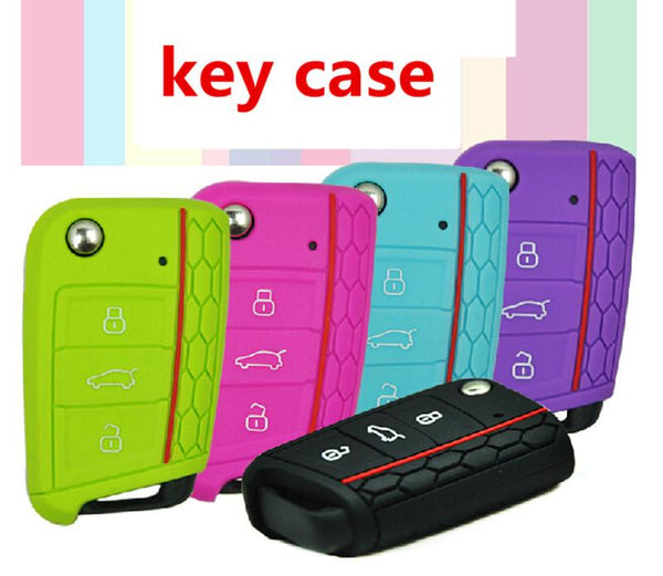 Car Accessories Key Case Key Bag Key Cover For Volkswagen VW Golf 7 mk7 Skoda Octavia A7 Silicone Key Portect Case car-styling