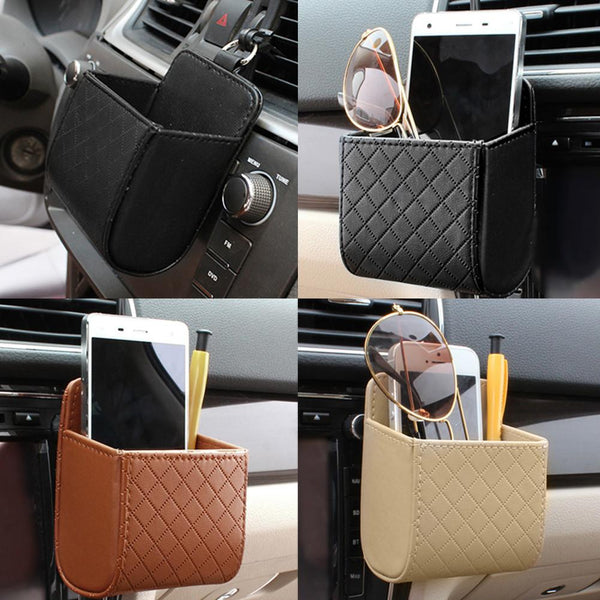 Car Auto Outlet Vent Seat Back Tidy Storage PU Leather Coin Bag Case Pocket Organizer Hanging Holder Pounch Box For MobilePhone