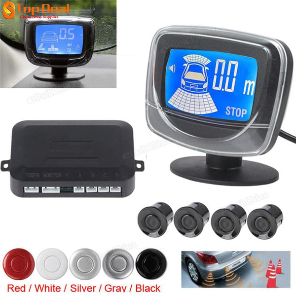 Car Auto Ultrasonic Parking 4 Sensors Weatherproof LCD Dual CPU Rear View Sensor Kit Reverse Backup Alarm Parking Assistance