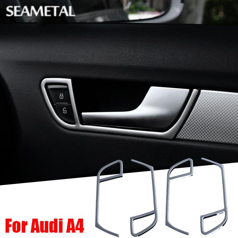 Car Chrome Styling Stainless Interior Door Handle Frame Covers Trim For Audi A4 B8 2009 - 2015 Decoration Accessories