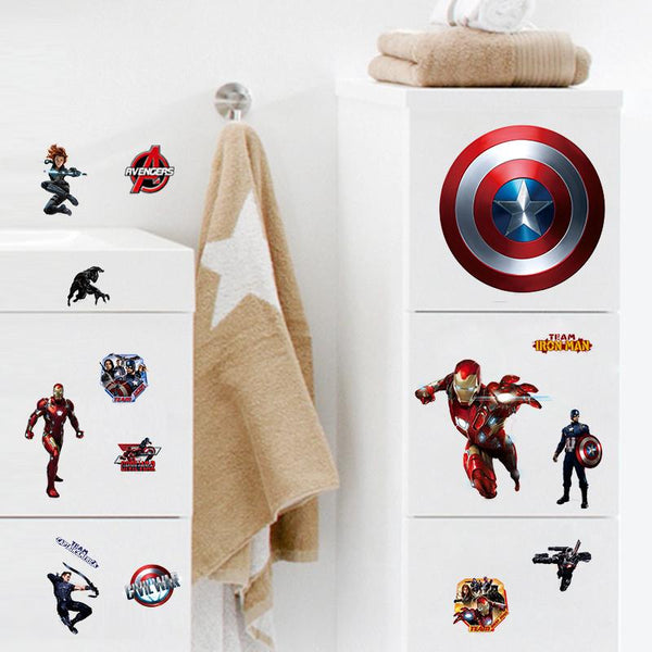 Cartoon Avengers Captain America Wall Stickers For Kids Rooms Marvel Super Hero Wall Decals Computer sticker Poster Boys