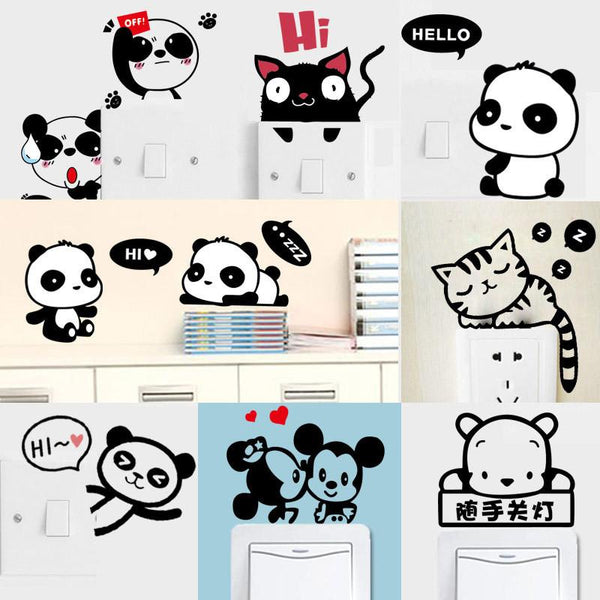 Cartoon Cat DIY Home Decors Plane Wall Switch Stickers Removable Sticker for Notebook Living Room Bedroom Bathroom Mural
