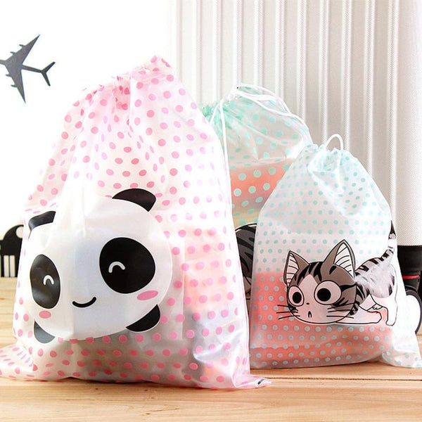 Cartoon Travel Storage Bag Cheese Cat Panda Polka Dot Waterproof Clothing Drawstring Bag Storage Clothes Sanitary Napkins