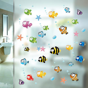 Cartoon Underwater Fish Starfish Bubble Wall Sticker For Kids Rooms Nursery Bathroom Decoration Home Decor Wall Decals Poster