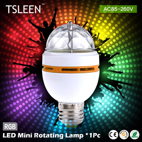 '++ E27 3W Colorful Auto Rotating lampada 85-260V Bulb Stage Light Party Lamp Disco MIni RGB LED Nightlight # TSLEEN