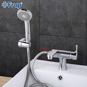 Classic Style Basin Faucet with Hand Shower Cold and Water Mixer 75 Degree Switch F1252