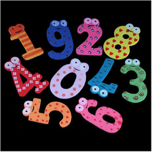Colorful Home Decorative Cute Set of 10 Number Wooden Fridge Magnets Toy Small #5150