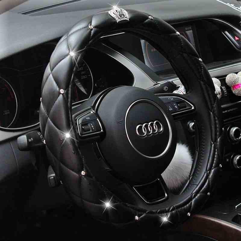 Crystal Crown Rhinestone covered Car Steering Wheel Cover Leather Auto Steering-Covers Cases Diamond For Women Girls Car Styling