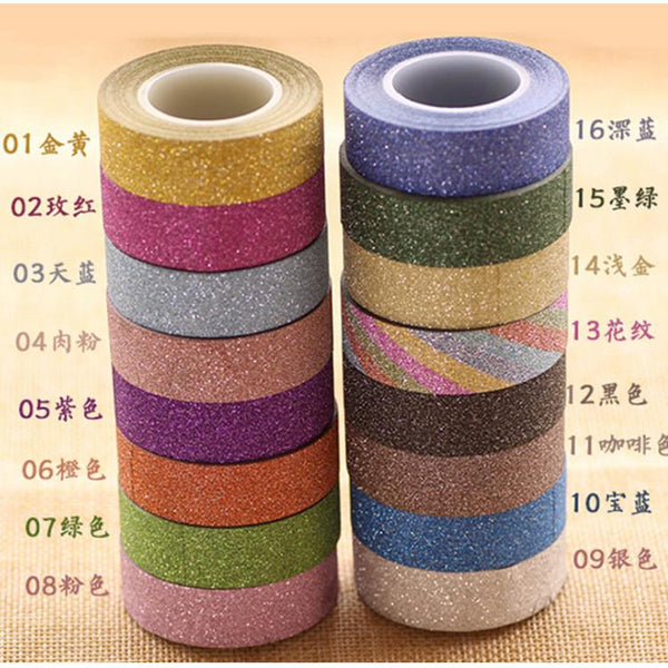 DIY 10 M Glitter Decorative Washi Tape Scrapbooking Tool Plannese Accessories Adhesive Paper Scotch Masking Tape