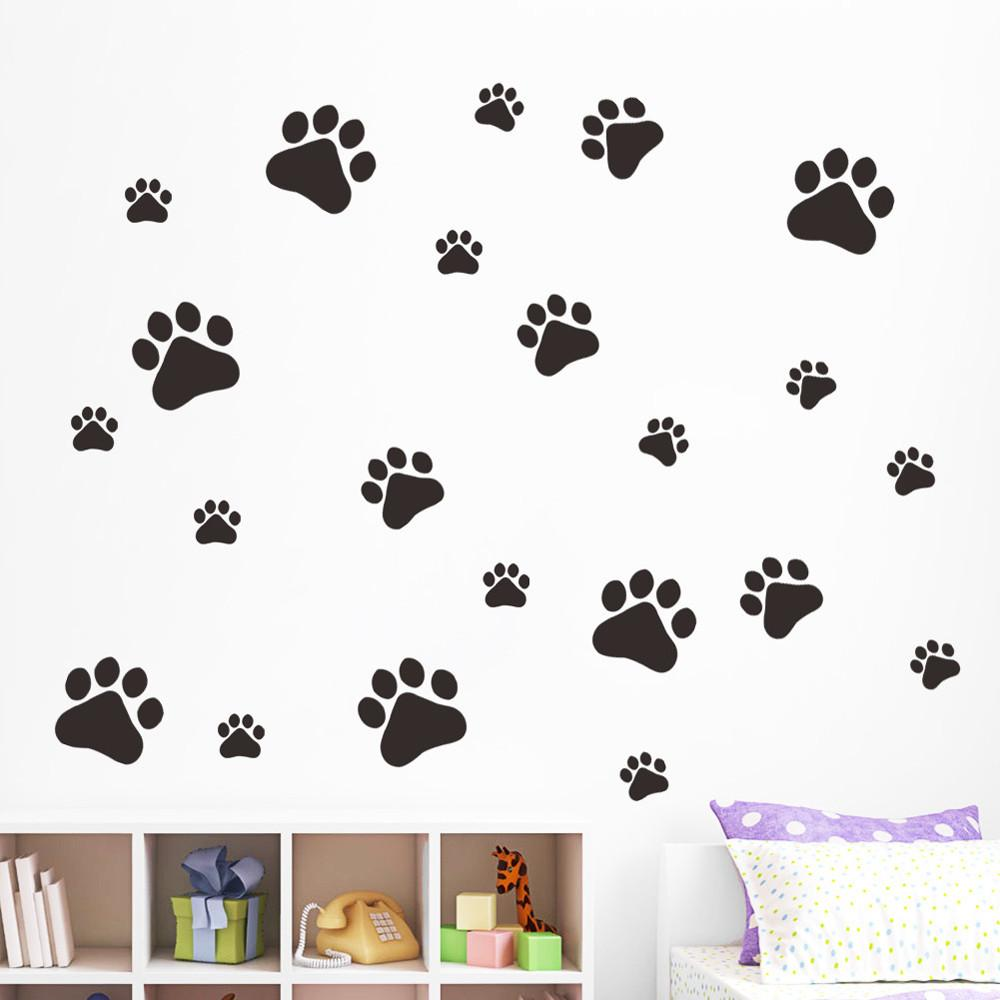Dog Footprints Vinyl Wall Sticker Art Wall Decals Home Decor For Kids Bedroom Creative Design Happy Pegatinas De Pared