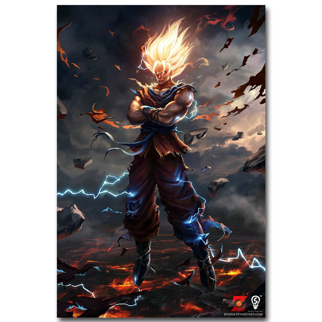 Dragon Ball Z Art Silk Fabric Poster Print 13x20 24x36inch Japanese Anime Goku Picture for Living Room Wall Decor 015