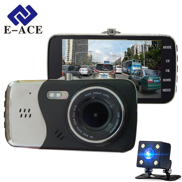 E-ACE Auto Dvr Camera Dual Lens Full HD 1080P Car Video Recorder Night Vision Parking Motion Automobile Registratory Dash Cam