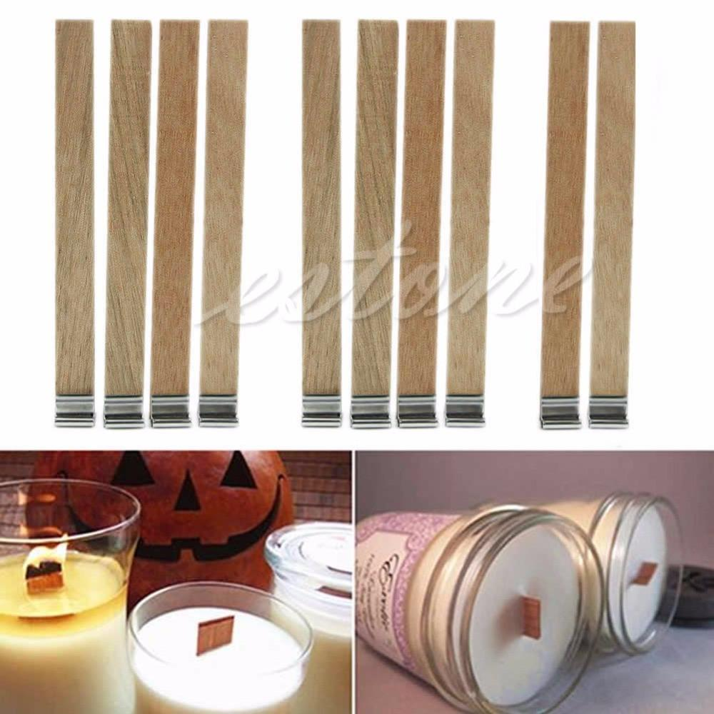 E74 10Pcs 13mm x 130mm Candle Wood Wick with Sustainer Tab Candle Making Supply