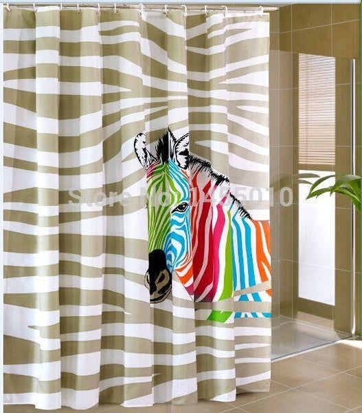 Fabric polyester multi-color zebra waterproof thicken shower curtains bathroom shower curtains