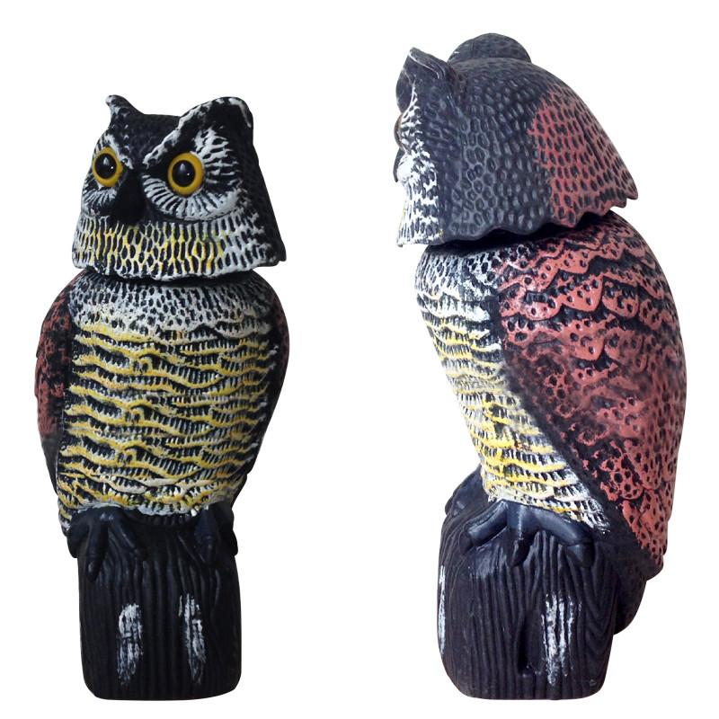 Fashion Decor Car Large Realistic Owl Decoy With Head Bird Pigeon Crow Scarer Scarecrow Vehicle Ornament