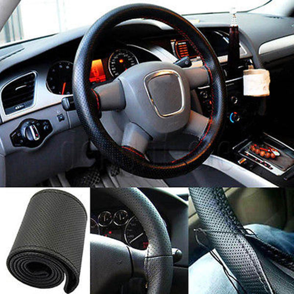 Fashion DIY Leather Car Steering Wheel Cover With Needle and Thread Black Grey Khaki Car Styling Accessories