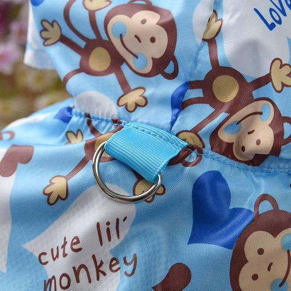"Fashion ""Monkey"" Printed Dog Raincoat Acrylic Puppy Waterproof Coat with Hooded Mesh Pet Clothes for Small Dogs Pet Supplies"