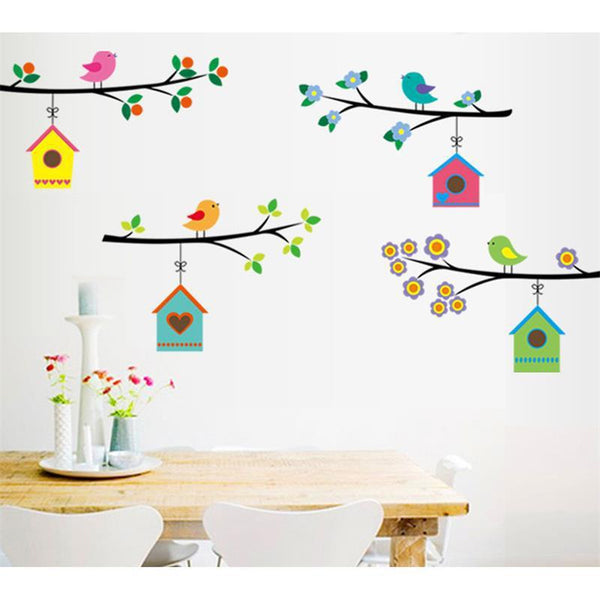Fashion Vintage Branch Bird Cage Wall Stickers Removable Living Room Decals Mural Parlor Window Kids Bedroom Home Decor