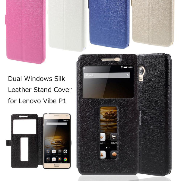 for Lenovo Vibe P 1 Cases and covers Phone Bag Dual Windows Silk Leather Stand Cover for Lenovo Vibe P1 5.5 inch