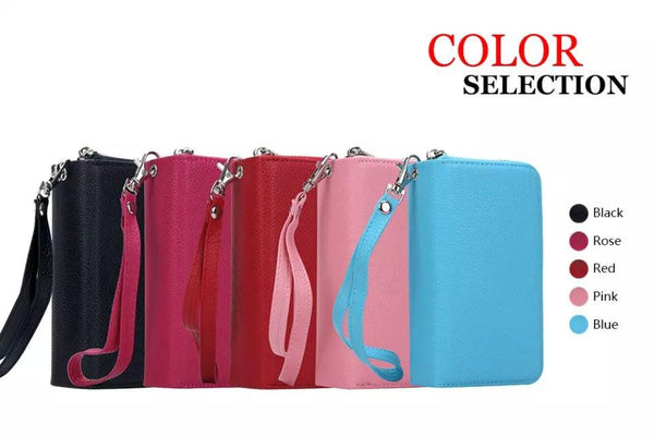 For iPhone 5S Case Magnetic 2 in 1 Zip Wallet Detachable Phone Bags For iPhone 5 5S 6 6S Plus 7 7 Plus 4 4S Strap Leather Case