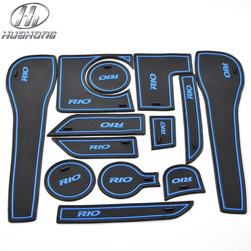 For KIA Rio K2 anti slip mat Door Groove Mat gate slot pad carpets interior body decoration accessory products part 2011-2014