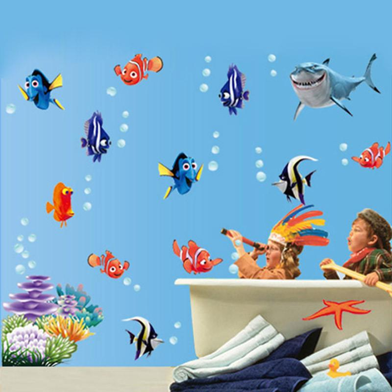 1pcs Removable Wall Stickers sea fish carton bathroom nursery home decor decals Pvc Stickers 617