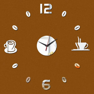 2017 diy wall sticker clock europe style acrylic mirror surface coffee stickers home decoratin for wall art