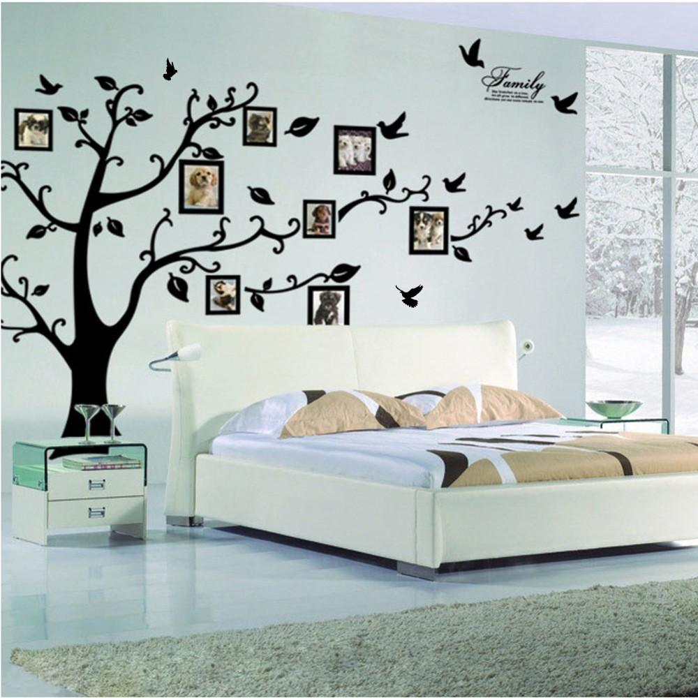 :Large 200*250Cm 79*99in Black 3D DIY Po Tree PVC Wall Decals Adhesive Family Wall Stickers Mural Art Home Decor