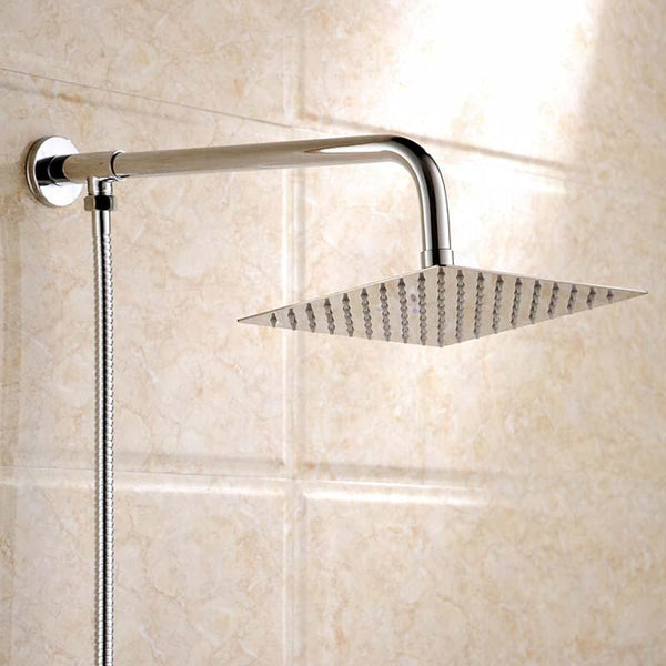 Polished Wall Mounted Square Rain Shower Head Stainless Steel Hose Wall Shower Arm Round Style