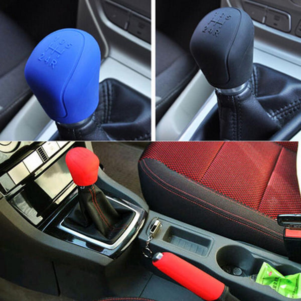 Gear head Shift knob Cover Gear Shift Collars Car-styling Durable Silicone Handbrake Grips Interior Decoration Car Accessories