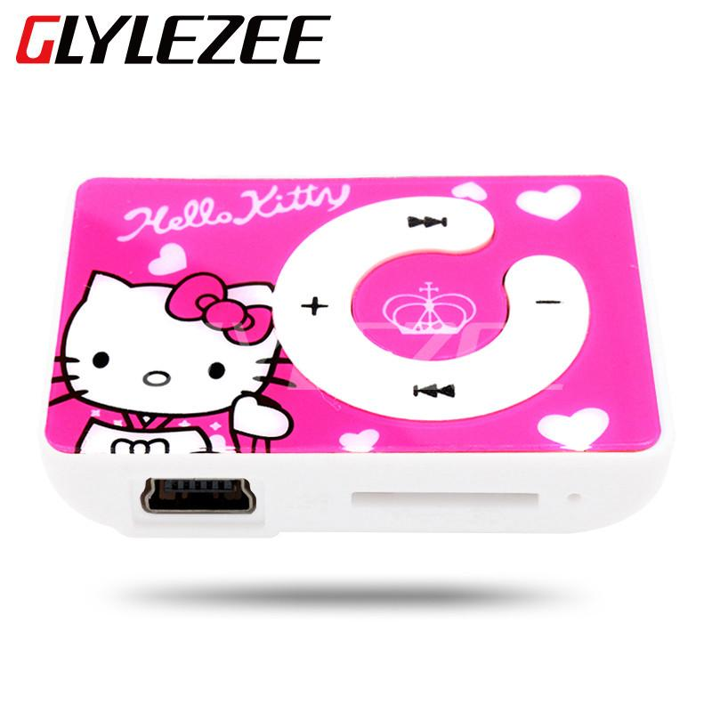 Glylezee Hello Kitty MP3 Music Player with 5 Colors The Plastic Clip Cartoon Portable MP3 Player