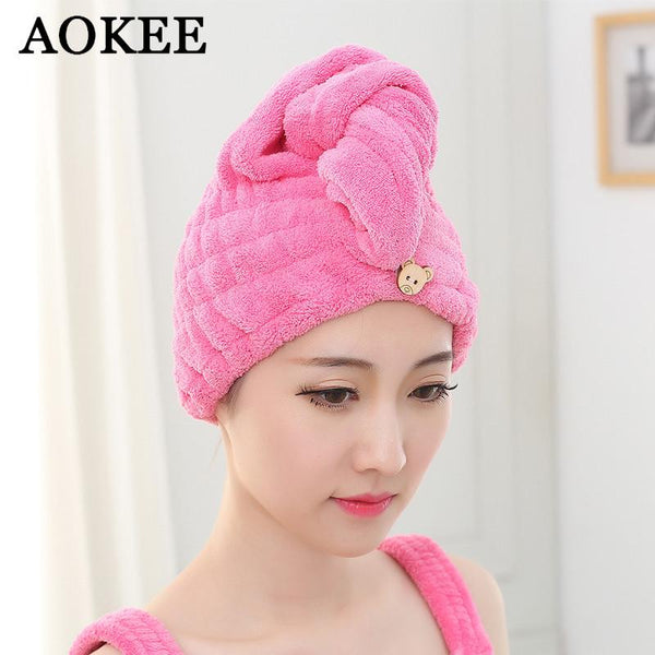 Hair Towel 1pc Womens Girls Magic Hair Drying Hat Cap Salon Towels Quick Dry Bath Textile Microfiber Fabric Hats