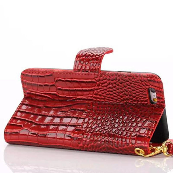 Hand Strap Wallet Case for Iphone 5 5S SE 5C 6 6S 6 6S Plus Flip Cover Pouch Luxury Crocodile Leather Phone Bags Cases