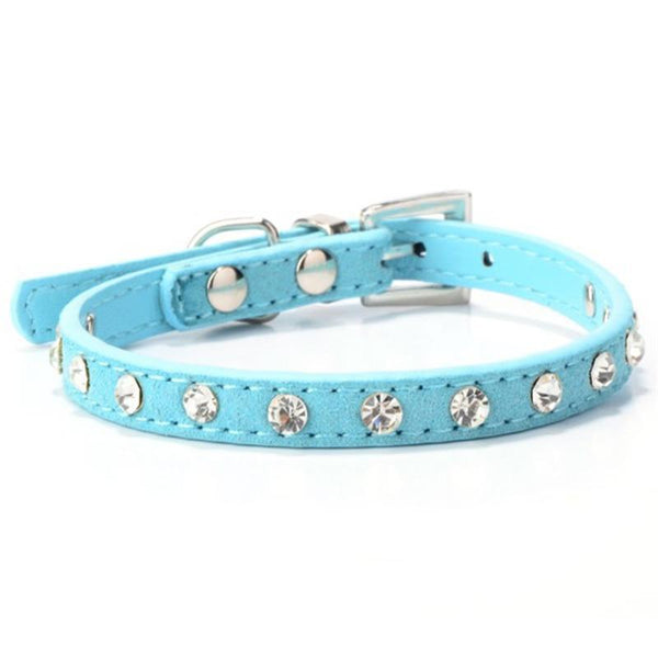 Fashion Pet Suede PU Leather Crystal Rhinestone Dog Puppy Cat Collar Necklace