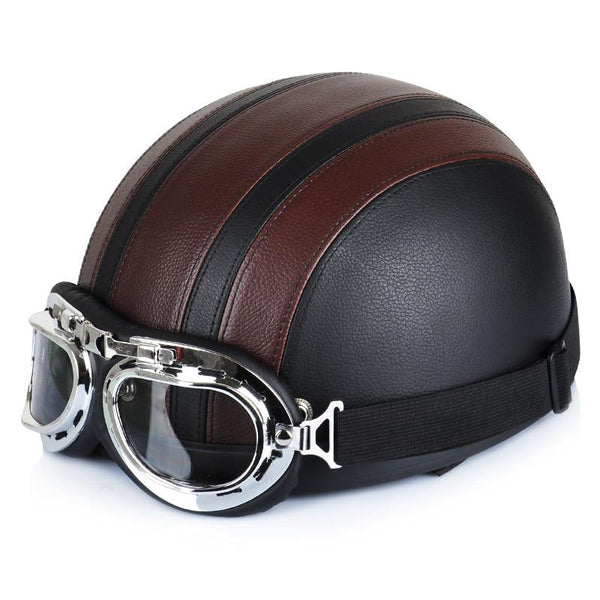 Sell Brown Synthetic Leather Vintage Motorcycle Cruiser Touring Open Face Half Motor Scooter Helmets & Visor & Goggles