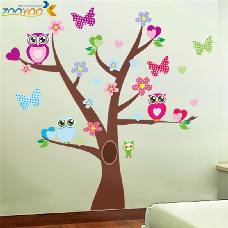 wonderful owl tree wall stickers zooyoo1006 waterpoof diy cartoons animal decals baby room home decoration art 5.0