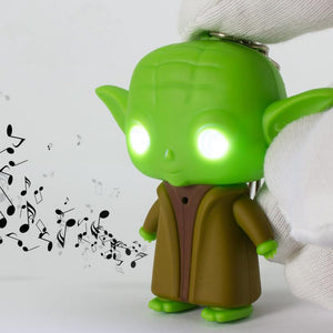 J206 Lovely LED Star War Lightsaber Grandmaster Yoda Jedi Action Figure Toys With Sound Keychain