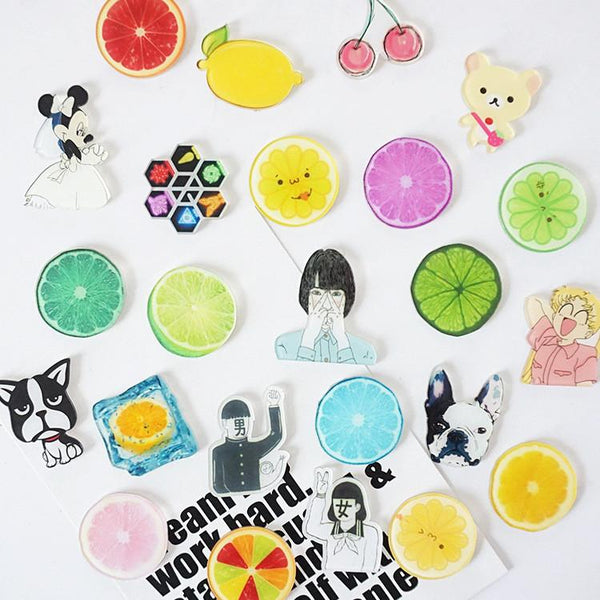 Japan and South Korea yakeli lovely home decoration Lemon cartoon dog harajuku fridge magnets