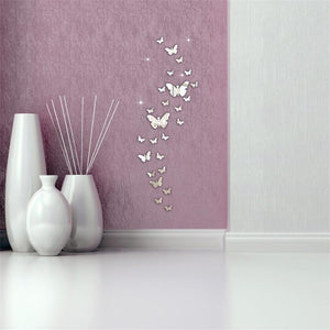 Lovely Pets Butterfly Combination 3D Mirror Wall Stickers Home Decoration DIY 922