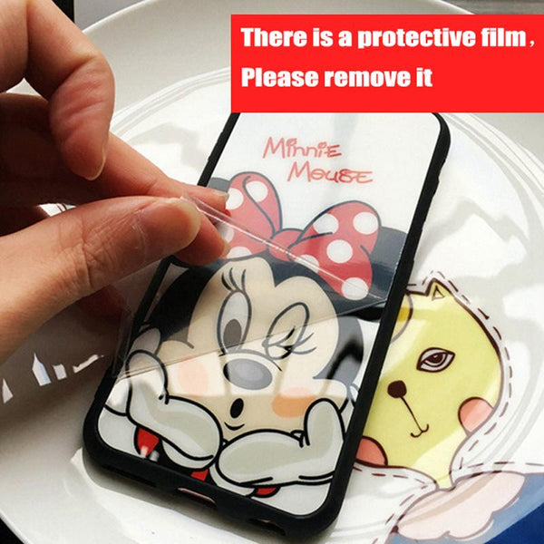 Luxury Fashion Mickey Minnie Mirror Case Cover For iPhone 7 plus 6s Plus 5.5 Capa Clear Fit Couple Case For iPhone 7 6 6s Fundas