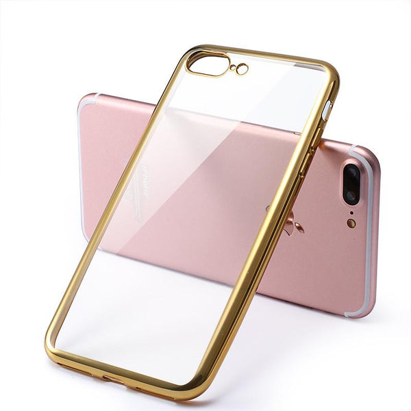 "Luxury Silicone Case For iPhone 7 7 Plus Transparent Soft Back Cover Gold Coque Fundas For Apple i Phone 7 Plus 5.5"" Capinha"
