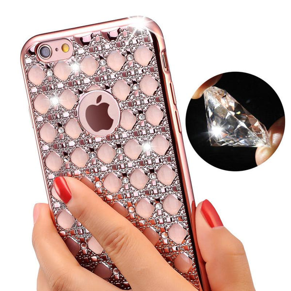 Luxury Women Phone Cases For iPhone 6 6s Plus Protective Coque Crystal Diamond Soft Back Cover Case For iphone 7 7 Plus Fundas