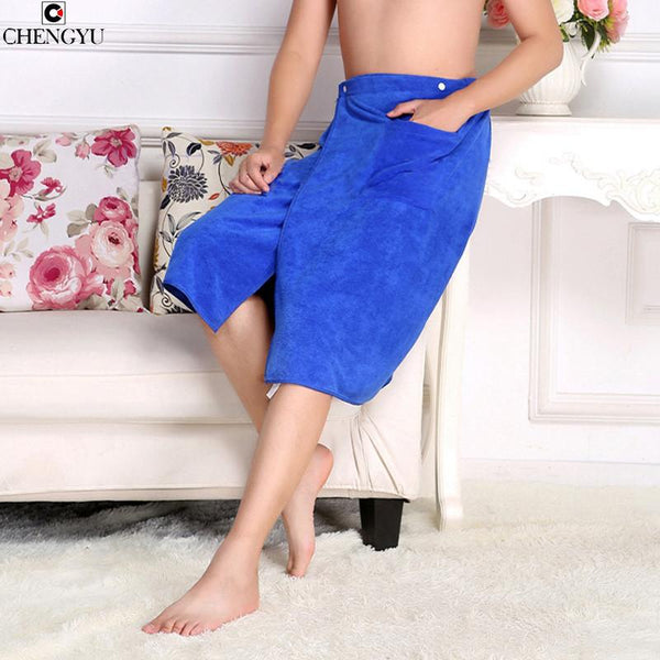 Man Wearing Coral cashmere Bath Towel Absorbent Beach Towels Pocket Creative Bath Skirt Solid Butterful S4YJ012