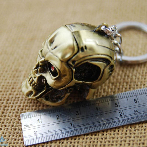 Men's Gold Silver Keychain Skull Shape Cool Pendant Car Keyring Accessory 1Pc