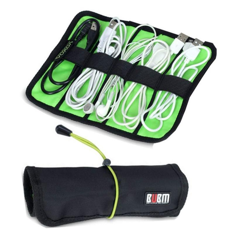 Mini Size Portable Cable Organizer Bag can put USB Cables Earphone Pen Roll Up Storage Bags