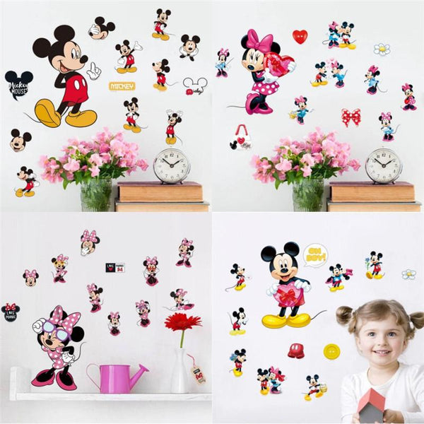 Minnie Cute Cartoon Lovely Wall Decals Sticker Home Room amusement park DIY art nursery baby Kids Boys Girls Playroom Decor