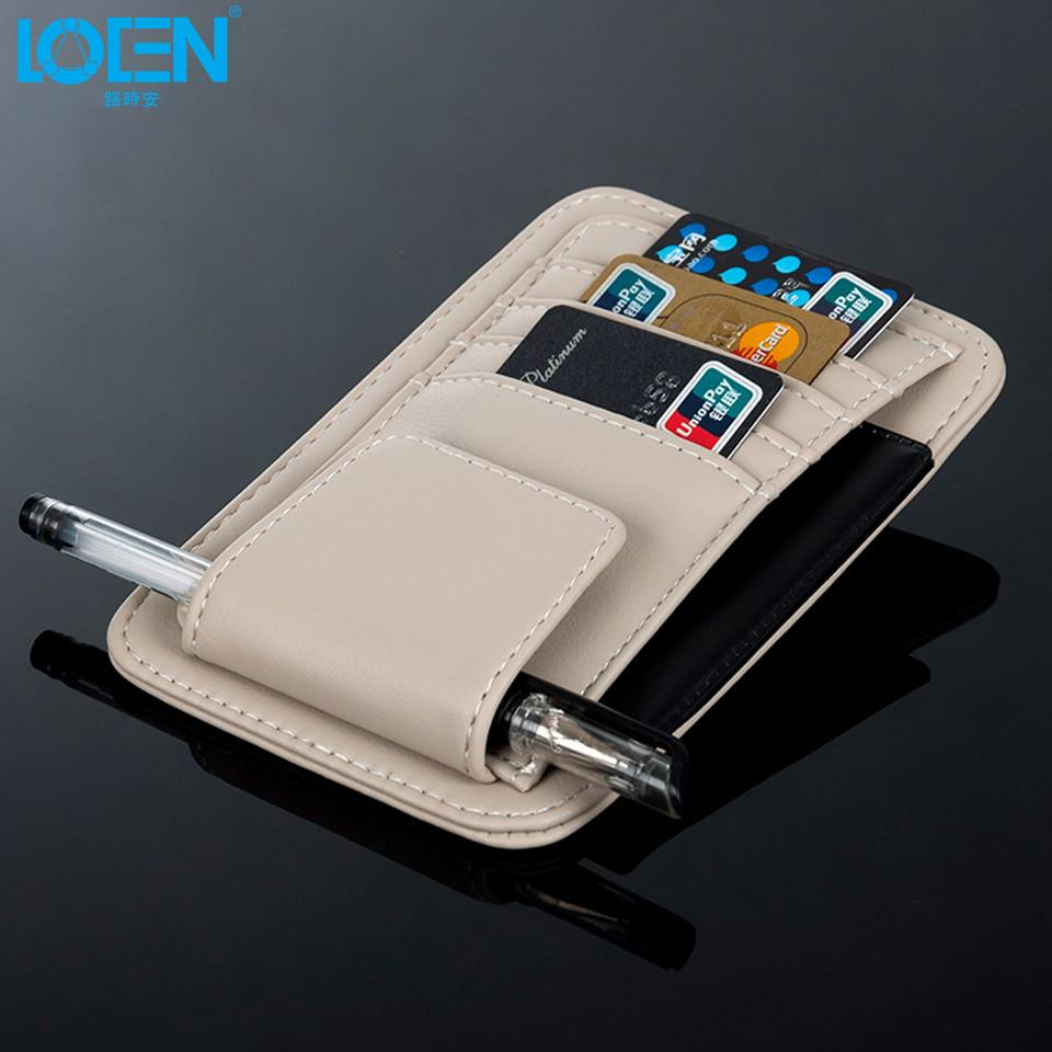Multifunction PU Car Sun Visor Card Package Holder Glasses Storage Pen Organizer Hanging Bag Auto Sunshade Accessories Pocket