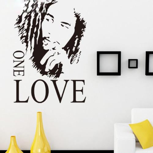 "Mural Home decoration 16.9"" x 24.0""Motto BOB MARLEY ONE LOVE DIY Removable Art Vinyl Quote Wall Sticker"