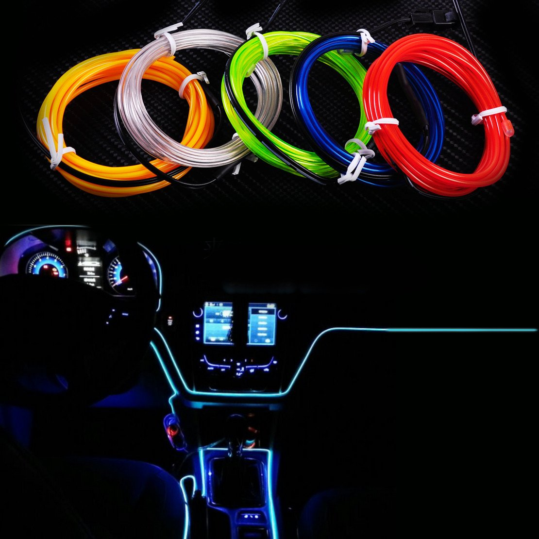 2M EL-Wire Flexible Led Neon Strip Cold Light Strip Rope Tape 12V Car Interior Decor Fluorescent for Ford Audi Nissan VW Kia